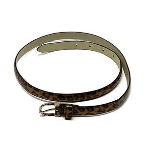 J Crew Leopard Tan Black Print Skinny Belt